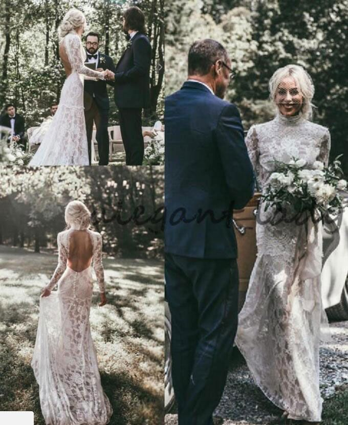Vintage Backless Long Sleeves Lace Boho Wedding Dress From