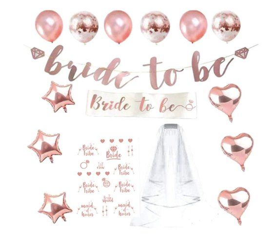 3590b722ca3 Rose Gold Bachelorette Party Decorations Kit Bridal Shower Supplies BRIDE  TO BE Balloons Bridal Shower Party Hen Party Decorations Bride