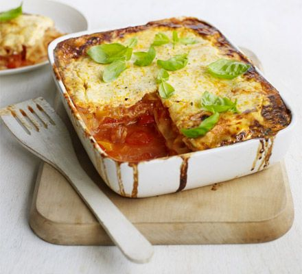 A new twist on a weeknight favourite - bake up spicy Spanish sausage in a tomato sauce with creamy white cheese sauce