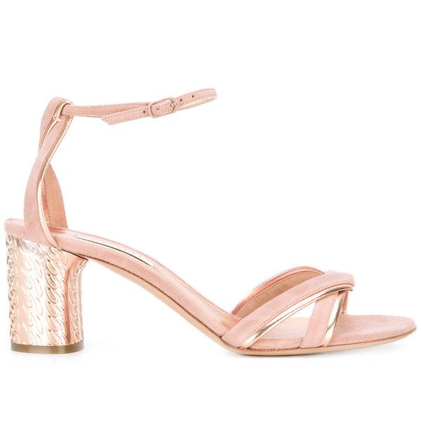 Casadei chain-effect mid heel sandals (£410) ❤ liked on Polyvore featuring shoes, sandals, casadei, chain sandals, genuine leather shoes, pink sandals and pink leather shoes