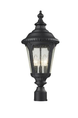 Z-Lite 545Phm-Bk Outdoor Post Light  Traditional and timeless, this medium outdoor post head fixture combines black cast aluminum hardware with seedy glass for a classic look. Features : Traditional and timeless, this medium outdoor post head fixture combines black cast aluminum hardware with seedy glass for a classic look *Comes in Black finish *Frame is made of Aluminum material Color : Clear seedy Size : Candelabra Product dimensions : 18.5x11.81x9 inches Product weight : 19 pounds