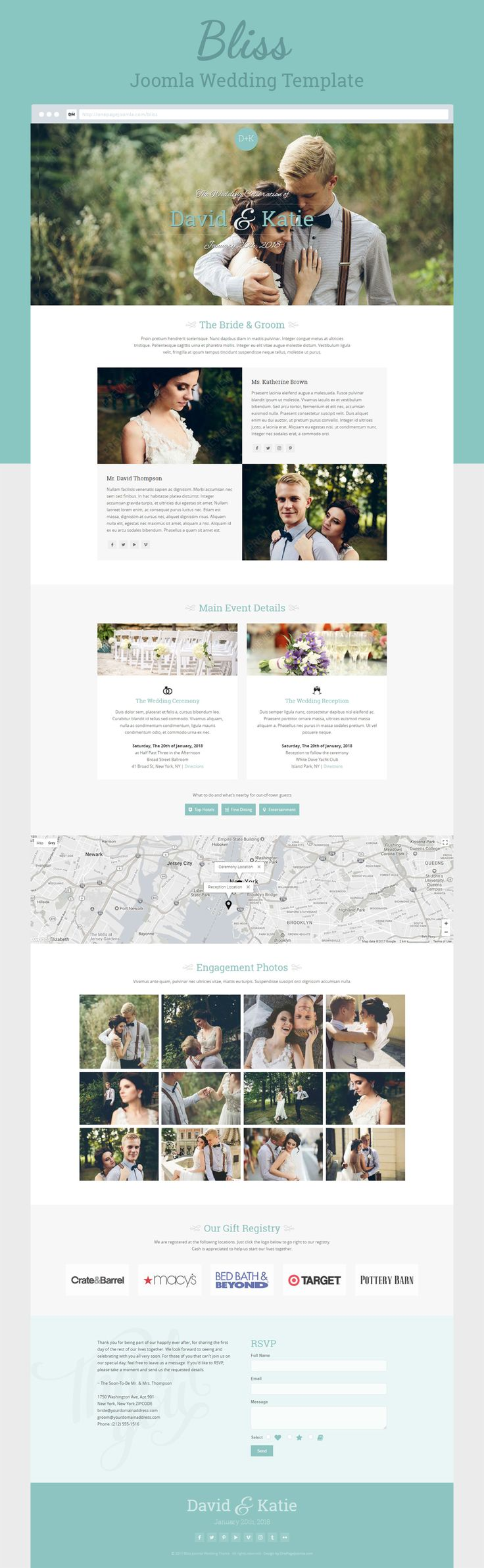 One Page #Joomla wedding & marriage template for sale. Easy installation with full help documentation. Support and customization is available. Multiple color styles available. #wedding #marriage #engagement #webdesign #template