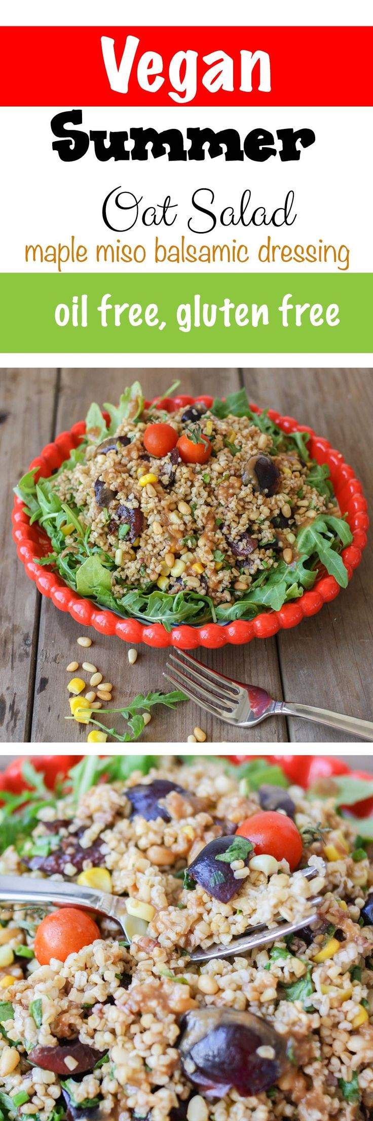 Summer Steel Cut Oat Salad with Maple Miso Balsamic Dressing | www.veggiesdontbite.com | #4thofjuly #independenceday #vegan #summer #barbecue #salad #glutenfree