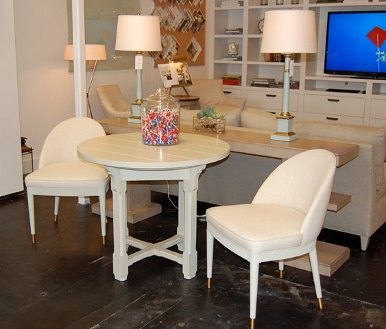 hickory lighting. shown at the circa lighting store in atlanta: special construction of round campagne top with piedmont base. made by hickory chair company.