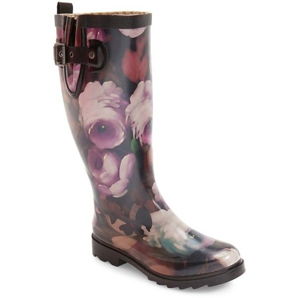 Women's Chooka Tribute Rain Boot ($70) ❤ liked on Polyvore featuring shoes, boots, floral print shoes, rubber boots, flower print shoes, wellington boots and floral shoes