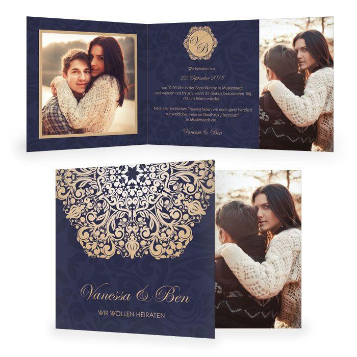 Barocke Einladung zur Hochzeit als Klappkarte in blau gold, 80
