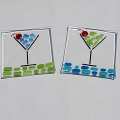 Fun cosmopolitan fused glass dish.  Maybe a set of coasters might be in order.