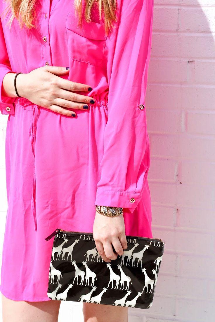 Neon Pink @azaleaterrace Dress Spring Dress Kate Spade Clutch