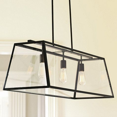 "Eldridge Rectangular Chandelier 14"" by 40"" wide, $399 - option for above island (most expensive option)"