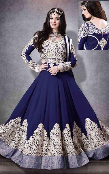 Mystical Navy Blue Anarkali Salwar Kameez