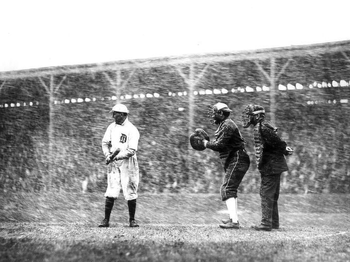 Davey Jones steps to the plate during an Opening Day  snowstorm at Bennett Park in 1911. From Bennett Park to Navin Field to Briggs Stadium to Tiger Stadium to the team's current digs at Comerica Park, Opening Day has been a longtime welcome to spring for Tigers fans -- no matter the weather.