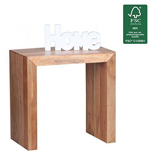 WOHNLING Beistelltisch Massiv Holz Akazie 60 X 35 Cm Wohnzimmer Tisch Design Dunkel