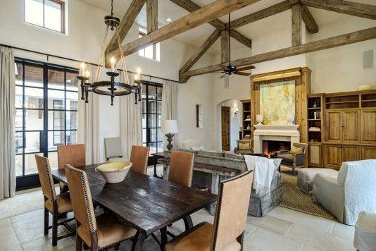 Tall ceilings, distressed beams, limestone floors--what a Great Room should be.