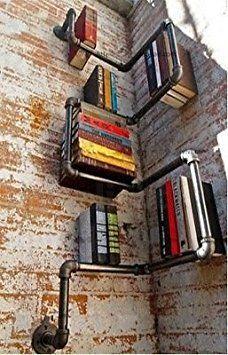 Style Industriel urbain en acier galvanisé Tuyau de rangement étagère livre neuf Dark Silver Grey