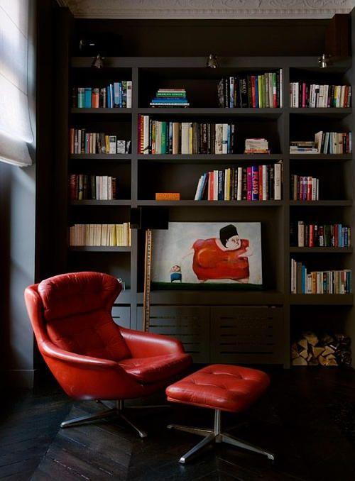 Moody but cozy reading nook