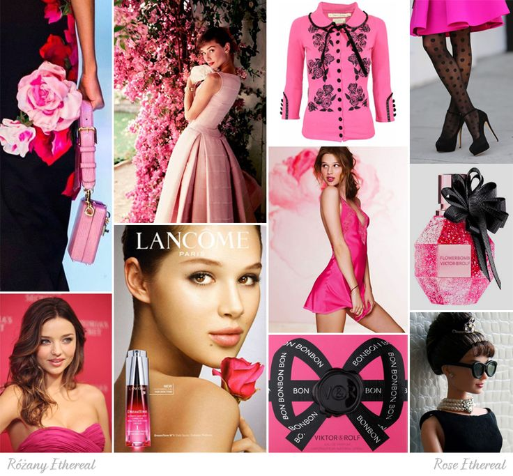 Rose Ethereal moodboard. One of 18 beauty types created by GretaKredka. All shades of pink, with additional black, flower patterns, bows, polka dots.
