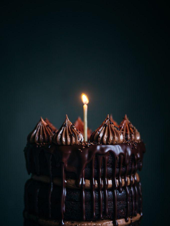 Chocolate cake with chocolate hazelnut frosting
