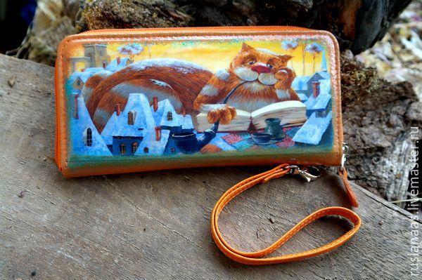"""Купить Кошелек с рисунком""""Рыжий кот""""натуральная кожа оранж - рисунок, кошелек женский, Кошелек в подарок"""