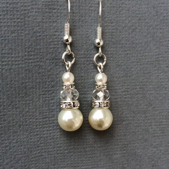 Ivory pearl and crystal earrings by ColourAndSparkle. Bridal jewellery, wedding jewellery