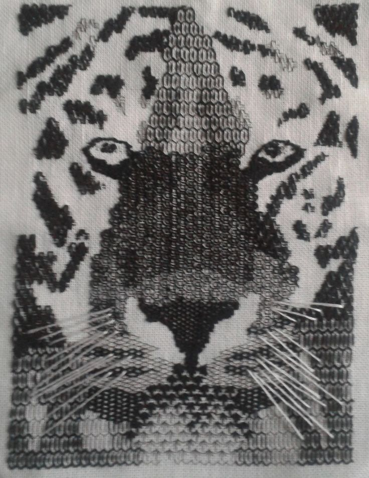 Blackwork embroidery Bengal tiger's face