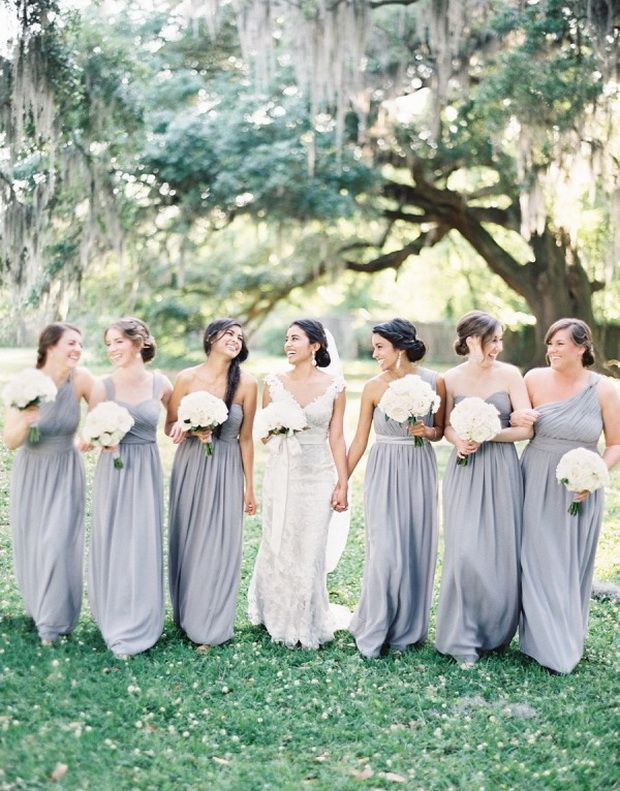 mismatched dusty blue long bridesmaid dresses styles