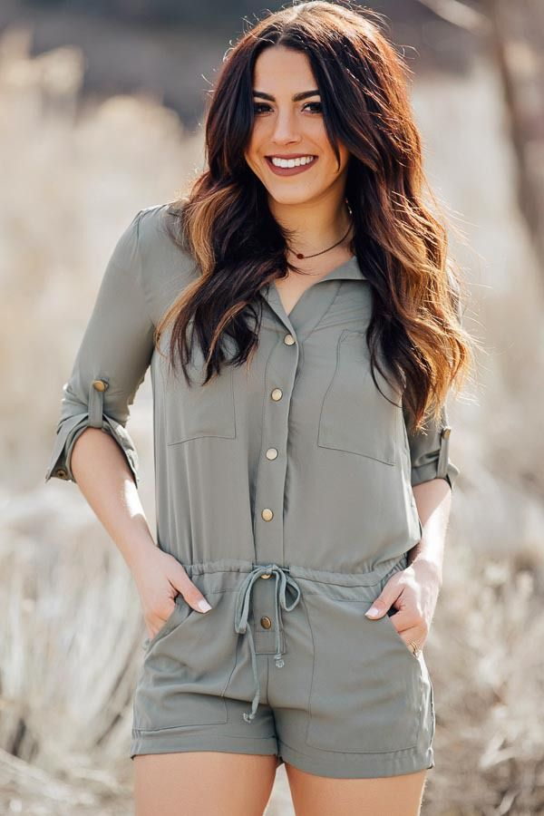 Lime Lush Boutique - Dark Sage Romper with Roll Up Sleeves, $69.99 (http://www.limelush.com/dark-sage-romper-with-roll-up-sleeves/)