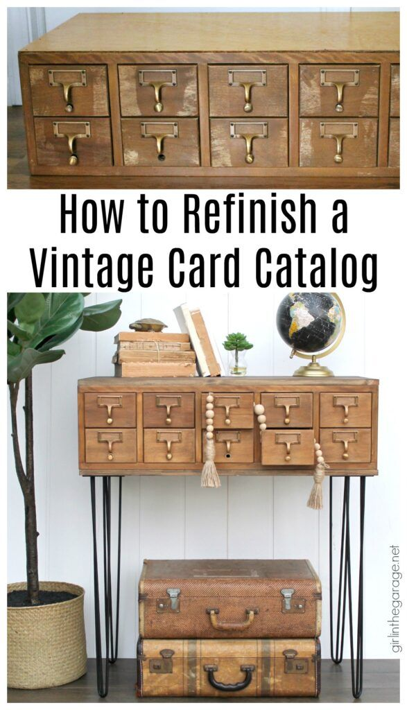 How To Stain Wood Refinished Card Catalog Staining Wood Card Catalog Furniture Makeover Diy