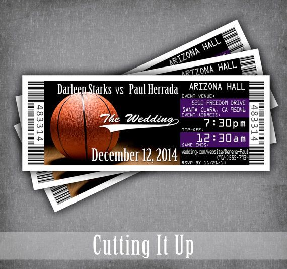 Basketball Wedding Invitations Tickets for by CuttingItUp on Etsy