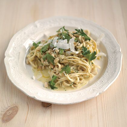Jamie Oliver's Summertime Tagliarini (lemon, pine nuts, parsely, parmesan, pecorino)