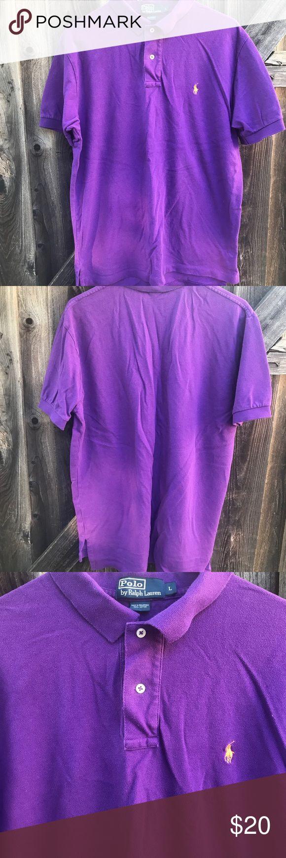 Polo Ralph Lauren purple men shirt Polo by Ralph Lauren men's Purple polo shirt Size large  Length 31 Armpit to armpit 23 Shoulder to shoulder 18.5 Arm length from shoulder 15 L14 Polo by Ralph Lauren Shirts Polos