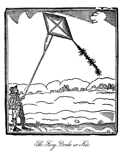Woodcut print of a kite from John Bate's 1635 book, The Mysteryes of Nature and Art in which the kite is titled How to make fire Drakes