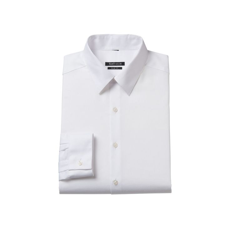 Men's Van Heusen Slim-Fit Wrinkle-Free Point-Collar Dress Shirt, Size: 17.5-32/33, White Oth