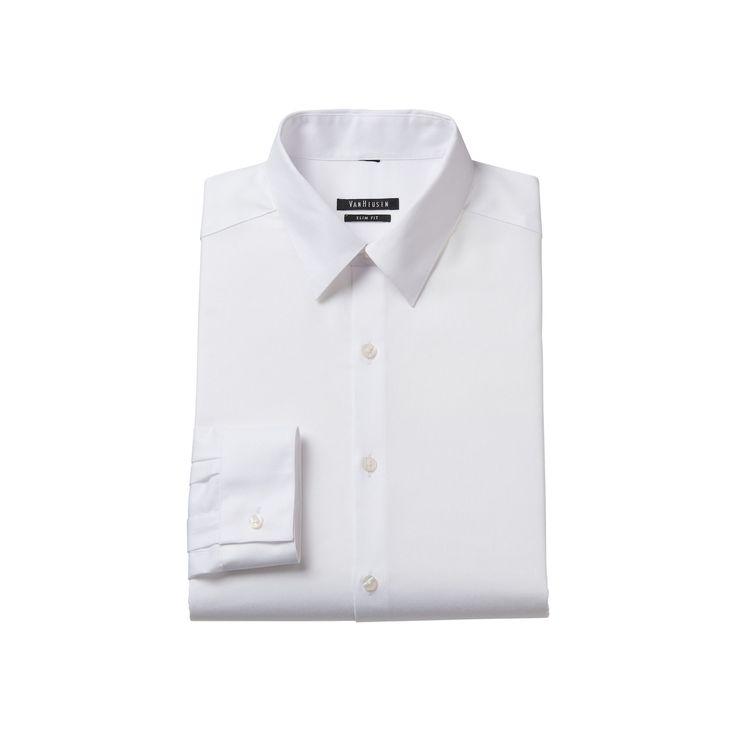 Men's Van Heusen Slim-Fit Wrinkle-Free Point-Collar Dress Shirt, Size: 17.5-32/33, White Oth