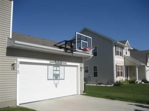 Goalsetter Basketball Roofmount System on garage Basketball court