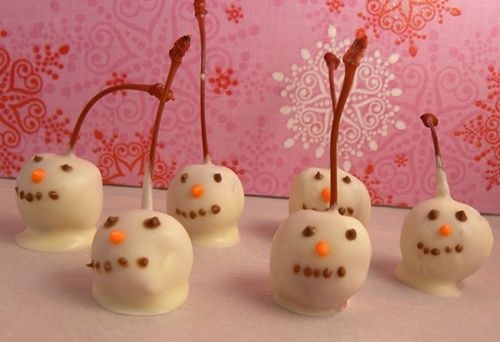 White Chocolate Covered Cherry Snowmen _ #Holiday Food Gifts #Christmas Traditions #Snowman