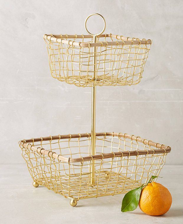 Pile pretty summer produce into this tiered wire basket and display it on your kitchen countertop for a perfect seasonal focal point.
