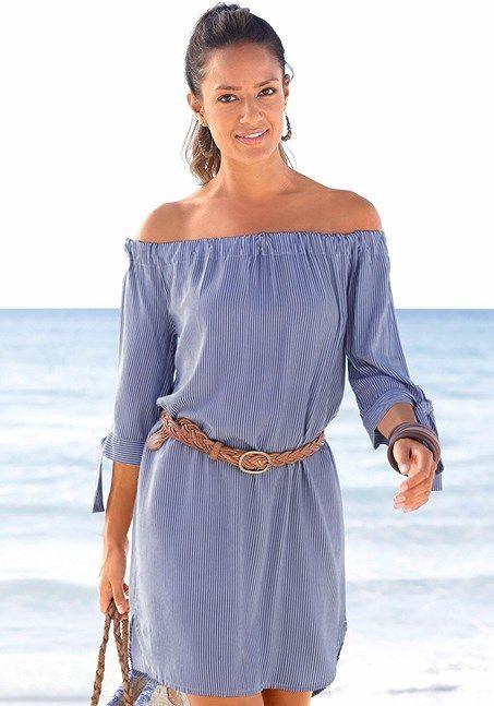 Off Shoulder Off Shoulder Carmen Casual Summer Beach Dress, Sundress, Blue Stripe, Size 4