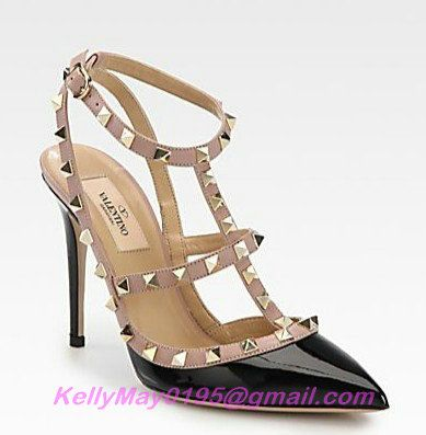 CHEAP VALENTINO ROCKSTUD PATENT 100MM BLACK,VALENTINO SHOES OUTLET $94