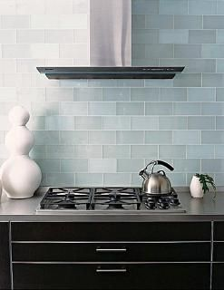 Frosted Sky Blue Glass Subway Tile Kitchen BacksplashSubway