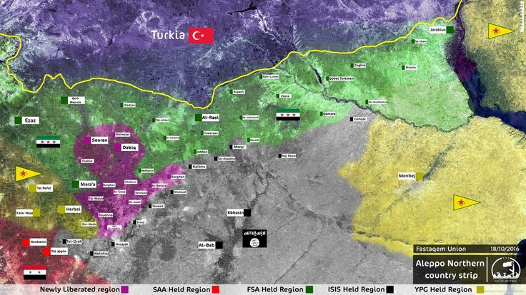 #FSA #FastaqemUnion Map of current situation in #Aleppo northern countryside. #Syria