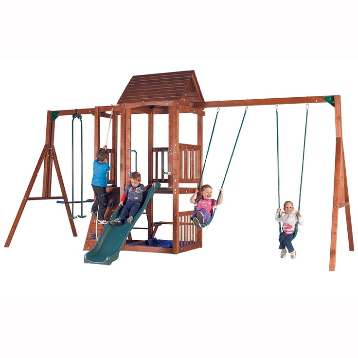 Action mourne deluxe wooden swing set outdoors and for Wooden swing set plans