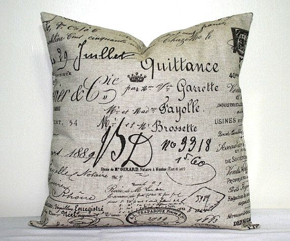 Throw Pillows With French Script : Brown Script 18x18 inch Pillow Cover, French Word Pillow, Accent Pillow, Throw Pillow French ...