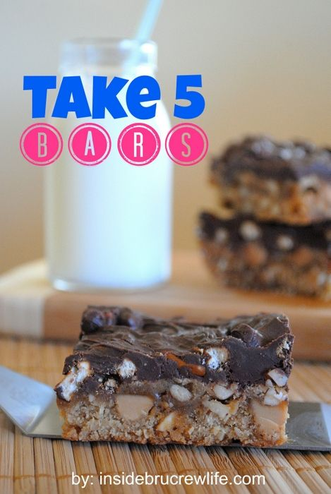 Take 5 Bars from Inside BruCrew Life - peanut butter blondes made after the Take 5 candy bars #brownies #candybars
