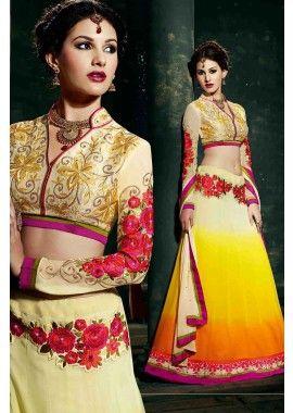 georgette jaune costume Anarkali