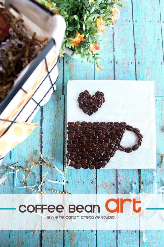 CRAFT idea: Coffee Bean ART @eyecandycreate #coffeebeanart #coffee #ad #giftbasketidea #SipIndulgence