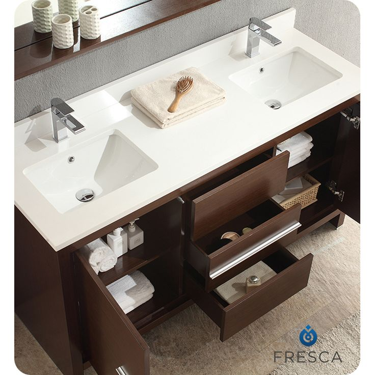 Best Fresca Allier 60 Wenge Brown Modern Double Sink Bathroom 640 x 480