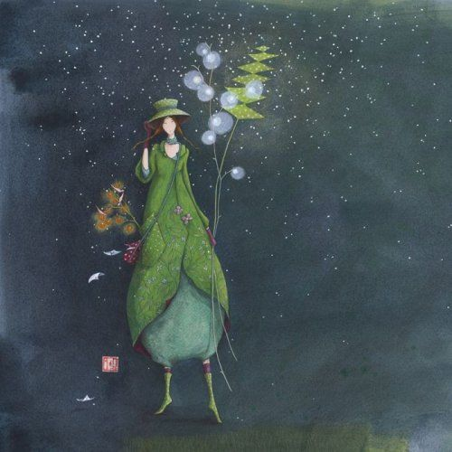 "Gaëlle Boissonnard postcard (16 x 16 cm)  ""Tombe la neige"""