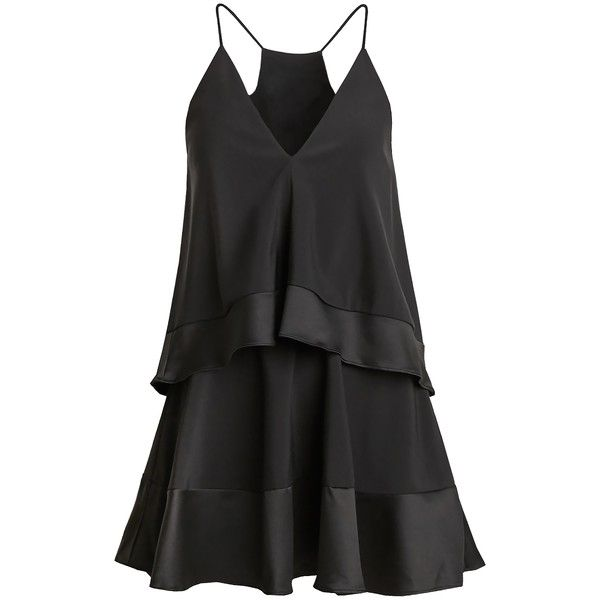 Double Layer Black Swing Dress featuring polyvore, women's fashion, clothing, dresses, short dresses, swing dress, trapeze dress, mini dress and layered dress