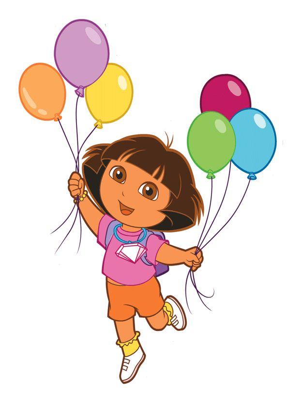 Dora con globos de cumpleaños