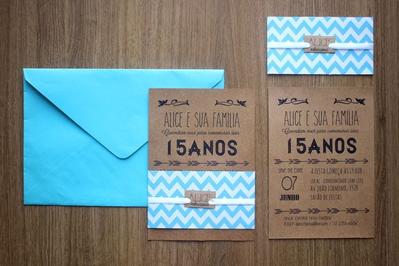 Festa de 15 Anos + Convite azul e craft   Sweet Fifteen + Invitation